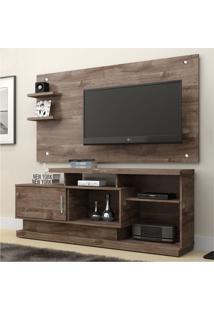 Rack Com Painel Para Tv 47 Polegadas Camaçari Marrom Escuro 156 Cm