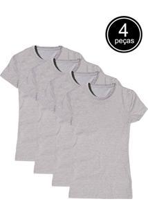 Camiseta Bã¡Sica Part.B Baby Look Gola Redonda Kit 4 Peã§As Cinza - Cinza - Feminino - Algodã£O - Dafiti