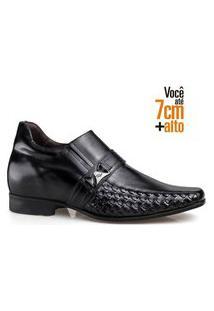 Sapato Social Couro Rafarillo Masculino Salto 7Cm Conforto Cinza