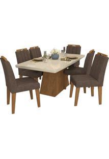Sala De Jantar Helen 180 Cm Com 6 Cadeiras Savana/Off White Cacau