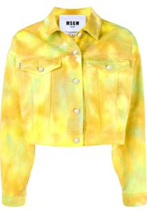 Msgm Jaqueta Jeans Cropped Tie Dye - Amarelo