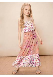 Vestido Rosê Longo Floral Menina