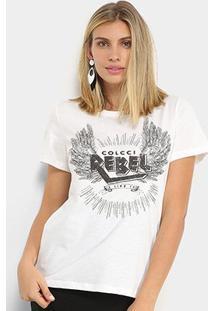 Camiseta Colcci Rebel Feminina - Feminino-Branco