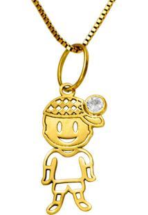 Gargantilha Em Ouro Galeria Hexagonal Com Brilhantes - Gg18004