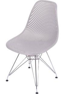 Cadeira Eames Furadinha Cor Fendi Com Base Cromada - 54702 - Sun House