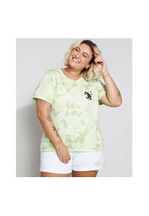 Camiseta Feminina Plus Size Estampada Tie Dye Docinho Manga Curta Decote Redondo Verde
