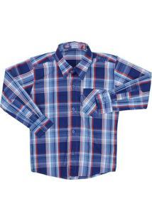ca64d85a4c Camisa Manga Longa Infantil Rodeo Western Xadrez Masculina - Masculino-Azul