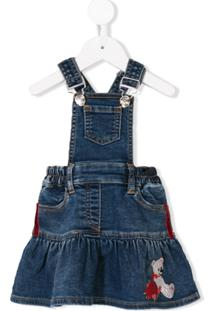 Monnalisa Jardineira Jeans Com Bordado - Azul