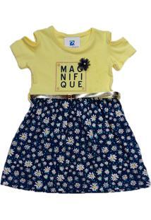 Vestido Infantil Moletom Manabana Verão Amarelo