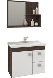Gabinete Suspenso Para Banheiro Hortência 46X55Cm Branco E Café