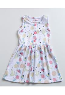 Vestido Infantil Estampa Frutas Sem Manga Marisa