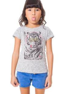 Camiseta Infantil Tigre Reserva Mini Feminina - Feminino-Branco+Preto
