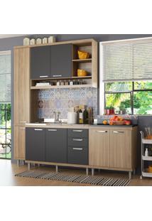 Cozinha Compacta 8 Portas 3 Gavetas Sicilia 5812 Argila/Grafite Premium - Multimóveis