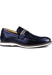 Sapato Couro Brogue Premium Masculino Confort - Masculino-Azul Escuro
