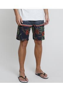 Bermuda Surf Masculina Estampada Floral Com Listras Cinza Escuro