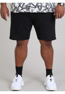 Bermuda Masculina Plus Size Em Moletom Com Bolsos Preta
