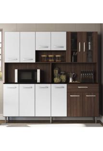 Cozinha Compacta 12 Portas 1 Gaveta Com Nicho Clara Siena Móveis Amêndoa/ Branco