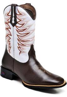 Bota Texana Ded Calçados Bico Quadrado Cano Longo Bordado 2510 Masculina - Masculino-Marrom