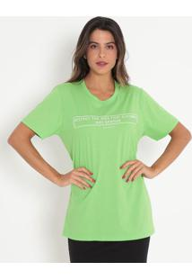 "Camiseta ""Destroy"" Com Relevo- Verde Claro & Branca-Colcci"