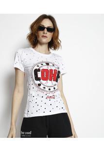 """Camiseta """"Coke"""" Destroyed - Branca & Vermelha - Cocacoca-Cola"""