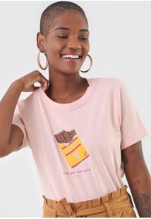 Camiseta Cantã£O Chocolate Rosa - Rosa - Feminino - Algodã£O - Dafiti