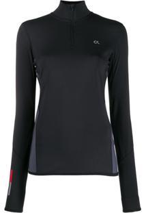 Calvin Klein Colour Block Logo Print Performance Jacket - Preto