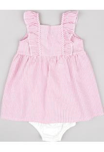 Vestido Infantil Listrado Com Babado Sem Manga + Calcinha Rosa