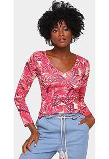 Camiseta Volare Estampada Manga Longa Feminina - Feminino-Rosa