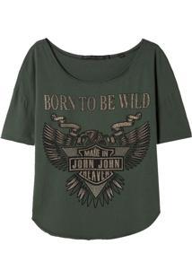 Camiseta John John Born Wild Malha Verde Feminina (Verde Medio, M)