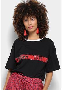 Camiseta My Favorite Thing (S) Paetê Dupla Face Feminina - Feminino-Preto