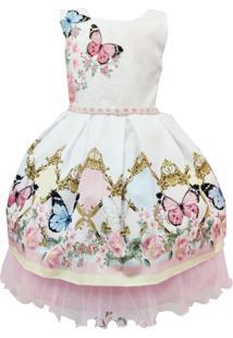 Vestido De Festa Infantil Branco Com Rosa Borboletas 1 Ao 16