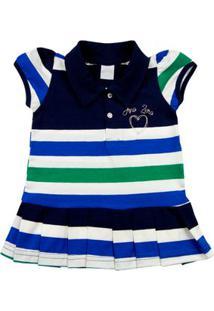 Vestido Cotton Listrado Japão Coração - Verde 3