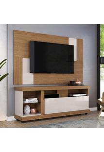 Rack Ilhabela Com Painel Para Tv Até 55 Polegadas 1 Porta Basculante Delfos Colibri Móveis Natural Real/Off White