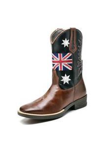 Bota Texana Fak Boots Cano Longo Bordado Uk Whisky
