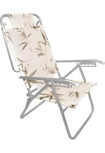 Cadeira Praia Reclinável Zaka Infinita Up Alumínio Até 120 Kg Bambu