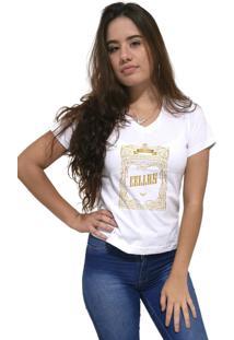 Camiseta Feminina Gola V Cellos Retro Frame Premium Branco