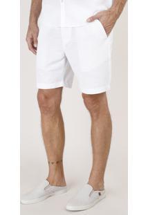 Bermuda Masculina Slim Listrada Com Cordão Off White