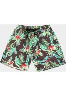 Bermuda Gajang Tropical Masculina - Masculino-Verde
