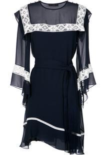 Nk Vestido Reto De Seda - Azul