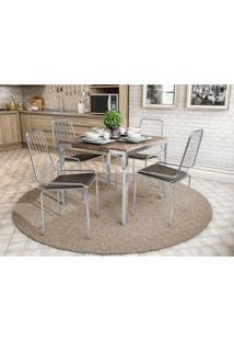 Conjunto Mesa Shire C/ 4 Cadeiras Benim Cromado/Marrom Kappesberg - Tricae