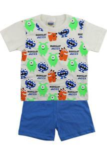 Pijama Bebê Duzizo Curto Para Bebê Monsters - Masculino-Creme+Azul