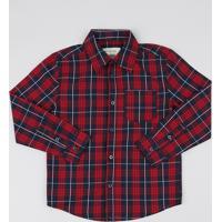 e1e4c699c7ade Camisa Infantil Estampada Xadrez Com Bolso Manga Longa Vinho
