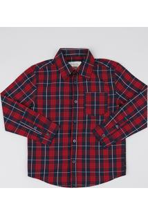 Camisa Infantil Estampada Xadrez Com Bolso Manga Longa Vinho