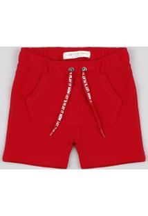 Bermuda Infantil Canelada Com Bolso Vermelho