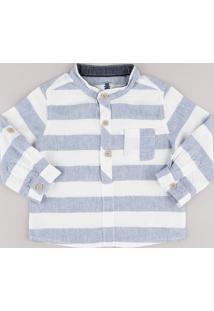 Camisa Infantil Listrada Em Linho Com Bolso Manga Longa Gola Padre Off White