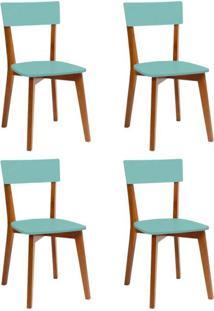 Conjunto Com 4 Cadeiras Tóquio Mel E Turquesa