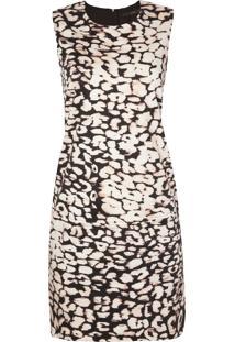 Vestido Tubinho Leeloo Onça - Bege E Preto