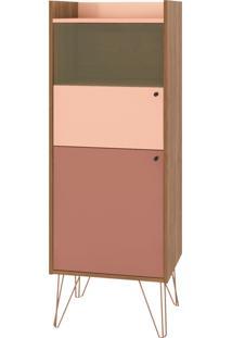 Cristaleira Style 2 Portas E Pés De Ferro Bronze Buriti/Ceramic/Millenium D'Rossi Rosa