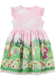 Vestido Libelinha Fantasia Masha E O Urso Rosa