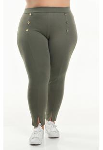 Calça Com Botões Decorativos - Verde - Xlg